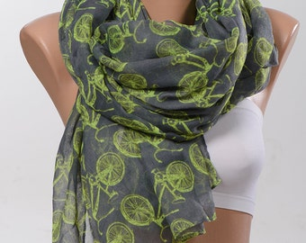 Birthday gift. Bicycle print scarf.  Men accessories. Gift for him. Men gift. Fashion accessories. Fall scarf.
