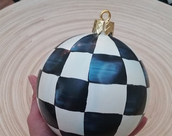 """Black and White Checks Orb Ornament, Ornament Hand Painted Checked Ornament, Shatterproof 4.75"""" diameter"""