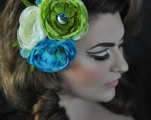 Sirens Song Turquoise White and Green with Abalone Center Floral Fascinator