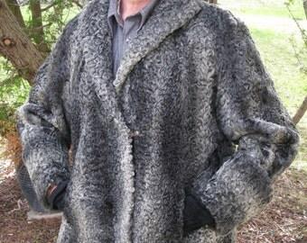 1950's Grey Persian Lamb Fur Coat 1940 Ladies Silver Fur Crop Jacket Short Fur Coat