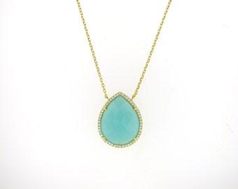 Aqua Gemstone Necklace