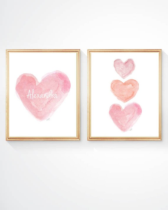 Pretty Pink and Coral Hearts Nursery Art, Set of 2 - 8x10 Pastel Watercolor Prints