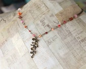 Pendant Necklace, Glass Bead Necklace, Brass Pendant, Beaded Jewelry, Pink and Orange, Rustic Jewelry, Dogwood Branch