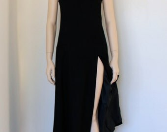 vntg JEANNENE BOOHER wool maxi minimalist dress /designer / leg slit / square neck /long black wool dress