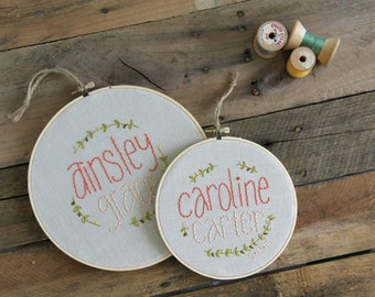 Coral Baby Girl Embroidery Hoop / Whimsical Vine / Rustic Nursery