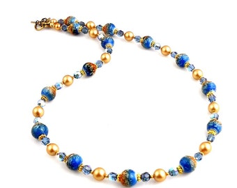 Blue and Gold Beaded Lampwork Necklace, Lampwork Jewelry, Fashion Jewelry, Glass Beads Necklace, Gifts, Wedding Jewelry