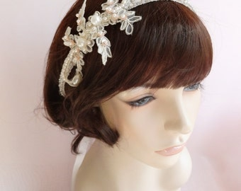 Bridal headpiece, headband, beaded band with gold lace and pearls,  ivory wedding headpiece Style 416