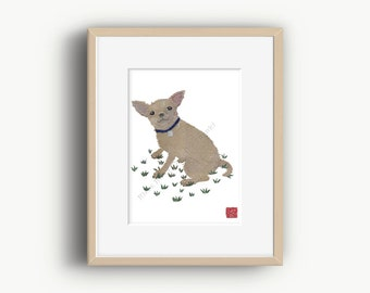 Chihuahua Art Print, Modern Dog Art, Tan Chihuahua, Chihuahua Gift, Ready to Frame
