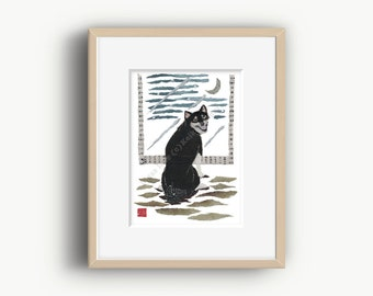 Black Shiba Inu Art, Shiba Inu Print, Shiba Inu Gift, Shiba Inu Wall Decor, 柴犬