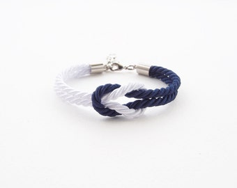 Bridesmaid bracelet -  beach bracelet - white - navy blue - nautical bracelet - beach wedding bracelet - navy blue wedding