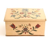 Vintage Folk Wood Storage or Sewing Box - German Hand Painted Chest