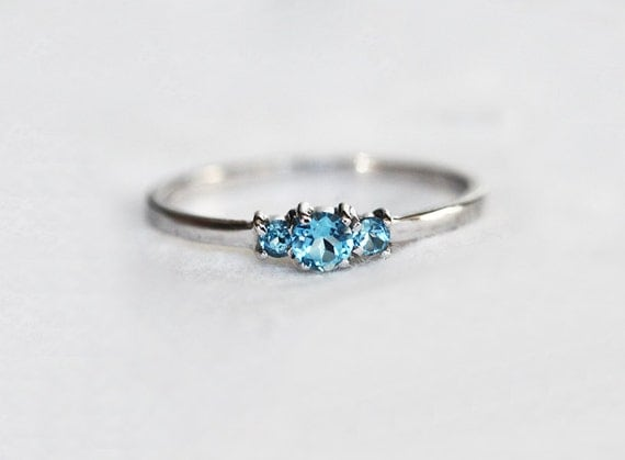 blue topaz ring gold topaz ring three stone ring dainty. Black Bedroom Furniture Sets. Home Design Ideas