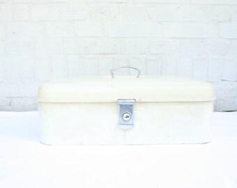 White Bread Box Off White Metal Bread Bin Industrial Storage White Kitchen Decor