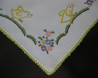 1950s Hand Embroidered Easter Tablecloth - Bunnies and Chicks - Hazelnut Blossoms - Germany