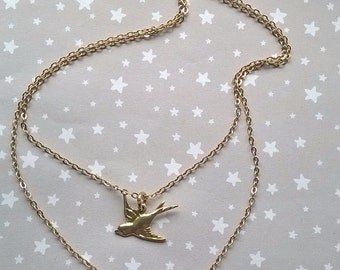 The Swallow Dream Tag Dual Layer Necklace