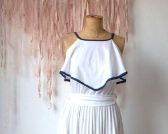 White- blue Marilyn Monroe style dress seventies, from designer Gillian Paul