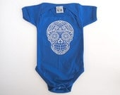 Day of the Dead Baby Clothes 6 9 12 months Skull shirt bodysuit Blue Hipster infant Boy Rockabilly Retro Shower Gift Halloween Shirt