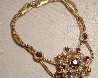 Purple and Clear Rhinestones Flower Bracelet 1960s Gold Plate Mesh