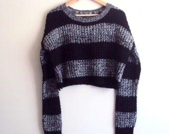 Knit Crop Sweater Long Sleeves Loose Fit Sweater Boyfriend Sweater Women Fashion Tops