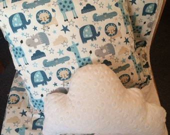 Cot Quilt - Baby Gift - Baby Shower Gift - Baby Boy Cot Set - Quilt, Cushion and Cloud Pillow