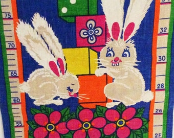60s mid century retro wall hanging tapestry with childrens measuring stick. Fantastic figures.