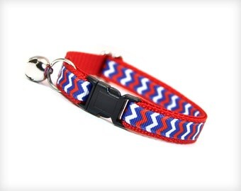 "Cat Collar - ""Thunder Road"" - Red, White & Blue Patriotic Chevron"