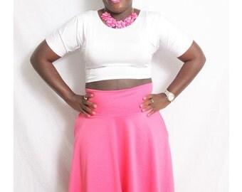 Women's Plus Size High Waist Circle Skirt. Small to 6X.