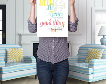 Scripture Art Print, 11x14 Wall Decor, Watercolor Typography, Instant Digital Download, Psalm 84:11