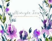 Watercolour Flower Hand Painted Clip Art - Midnight Iris