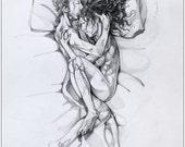 Sleeping couple - original pencil drawing