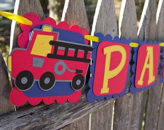 Firetruck Birthday Banner - Red, Blue and Yellow