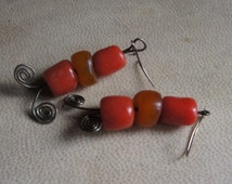 Handmade STERLING silver wire earrings with red and amber yellow vintage TRADE BEADS. 1960's hippie/Boho/ retro/rustic