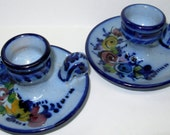 Portuguese Ceramic Candlesticks, Hand Painted, Blue Pottery Candle Holders, Made in Portugal