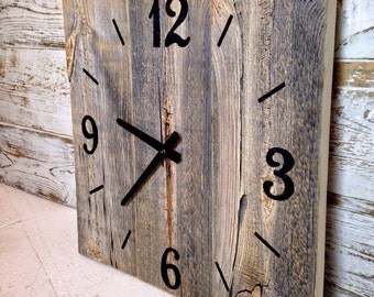 Reclaimed Barn Wood Clock  Large Rustic Wall Clock  Unique Wall Clocks  Rustic Wall Decor