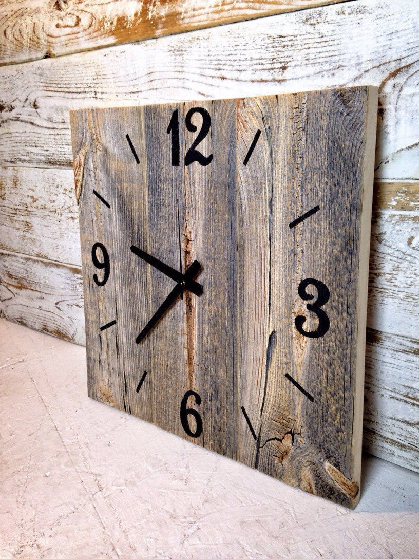 Reclaimed Barn Wood Clock Large Rustic Wall Clock Unique