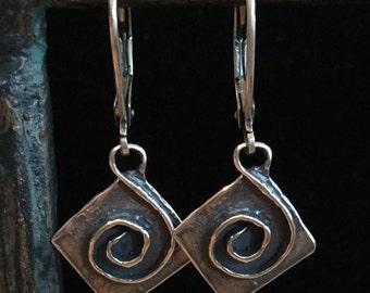 Earrings: Spirals in Diamond - Sterling Silver
