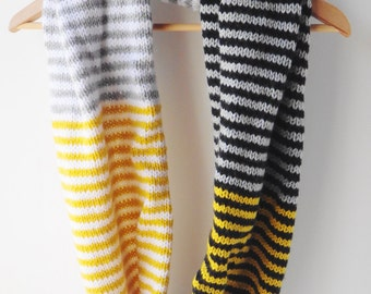 Oversized striped cowl in black and gray, black and yellow striped cowl, black and yellow cowl