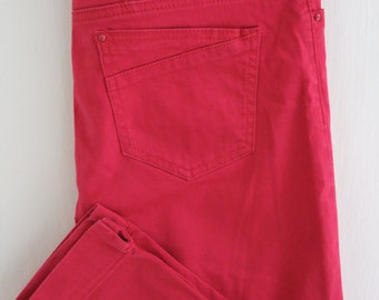 Dark Pink Fuschia 3/4 Pants, Hot Pink Capri Pants, Cotton Tretchy Crop Pants - Size M