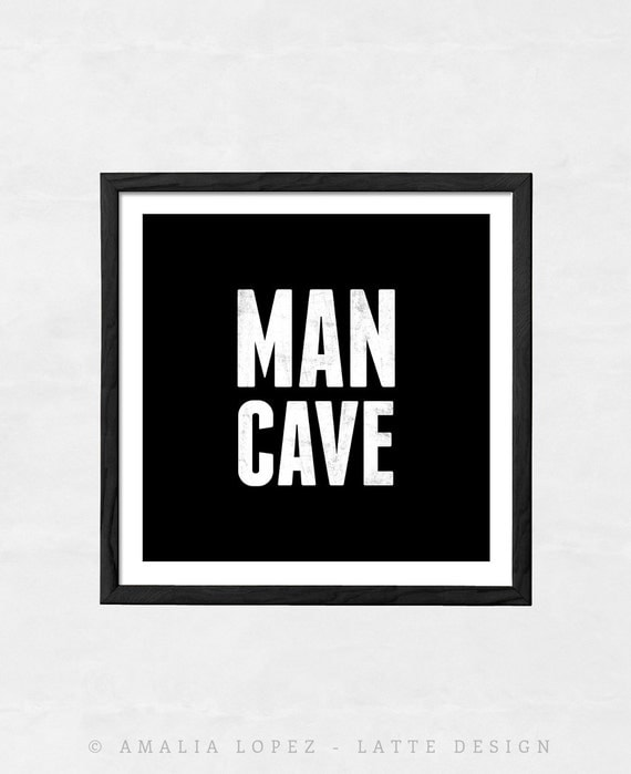 Man Cave Gifts For Him : Man cave print typography gift for him poster