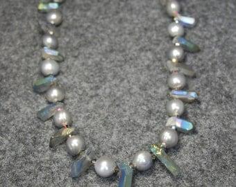 SALE  Soft Gray Pearl and Quartz Necklace