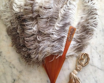 1800s antique French monogrammed ostrich feather fan