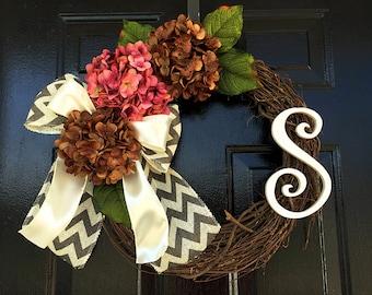 Spring/summer monogram wreath, hydrangea wreath, summer wreaths, personalized wreath, door wreath