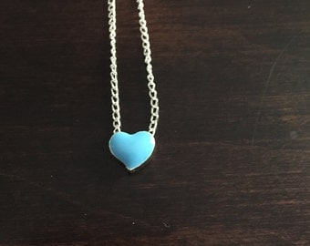 turquoise heart necklace, turquoise jewelry, heart necklace, silver heart necklace, necklace, silver necklace, necklace