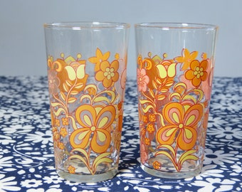 Set of 2 orange & yellow mod flower drinking glasses - French 60s 70s vintage