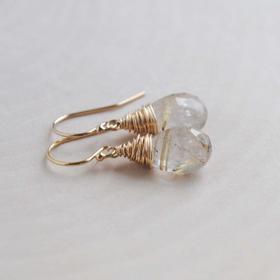 Golden Rutilated Quartz Jewelry Of Golden Rutilated Quartz Earrings Gold Drop Earrings Gold