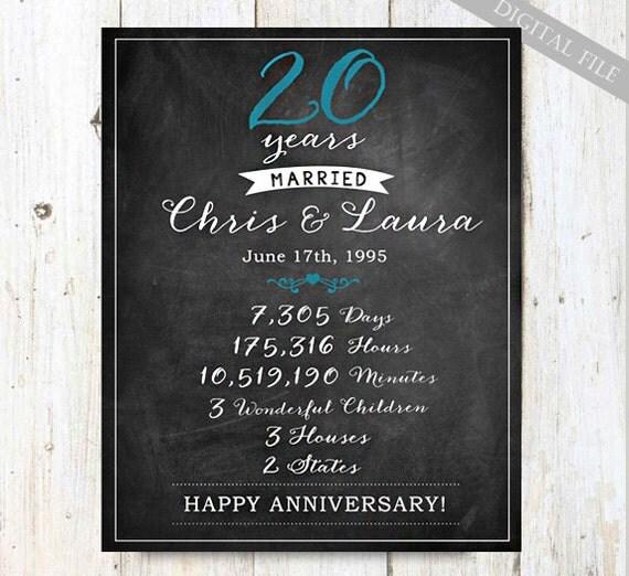 20th anniversary love story print - 20 year anniversary gift ...