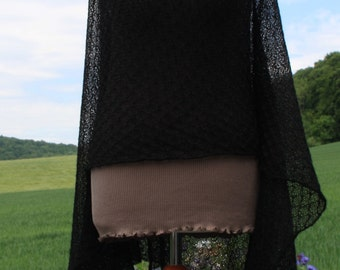 Handmade knit shawl / knitted wrap / knitted scarf / convertible scarf / baby alpaca /merino /  Lace / felegree / scratch-free /  black