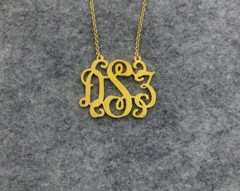 Monogram necklace-1 inch-925 Sterling silver 18k Gold Plated Personalized Monogram necklace -100% handmade