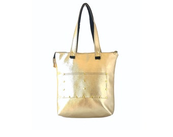 fake ysl bag - Silver leather tote bag leather shopping bag casual by Razolly