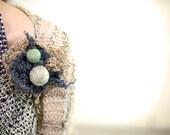 statement brooch - flower brooch - linen brooch - brooch boutonniere - textile brooch - gift for her
